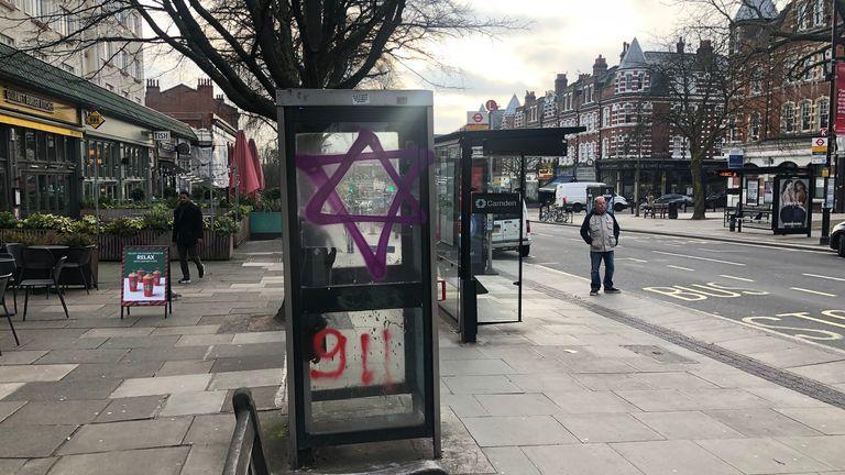 Anti-semitic graffiti in north London. Pic: Oliver Cooper