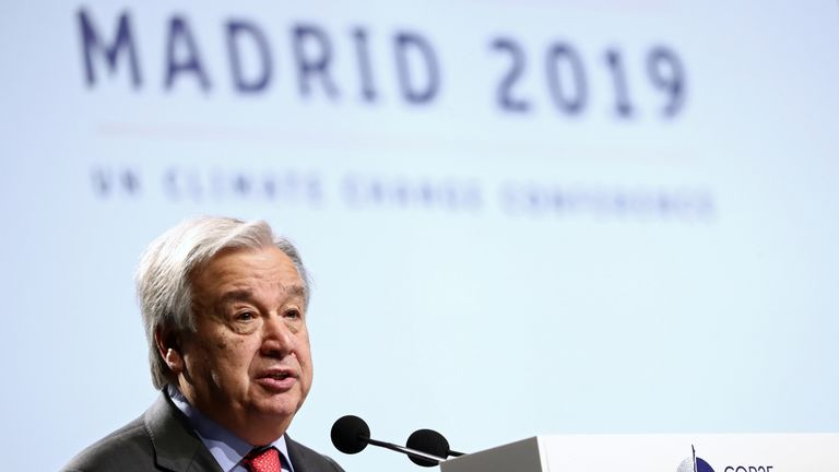UN secretary general Antonio Guterres said it would be 'catastrophic' if the world's greenhouse emissions were not reduced dramatically