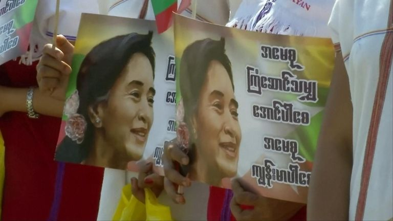 Thousands of supporters of Myanmar leader Aung San Suu Kyi gathered on the streets of the country's capital to celebrate her arrival back from The Hague after defending the country against genocide charges.