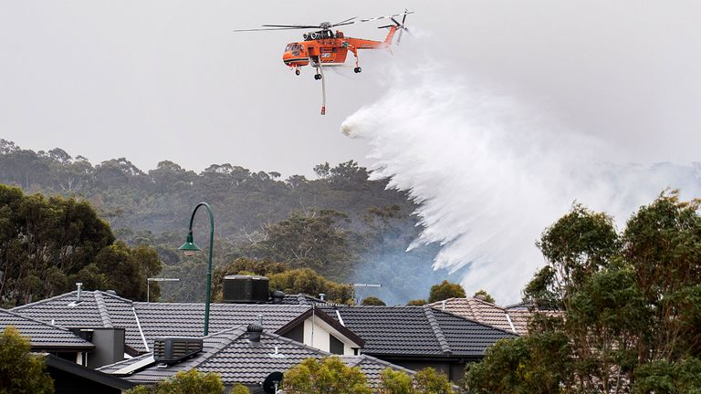 A skycrane drops water on a bushfire in scrub behind houses in Bundoora, Melbourne