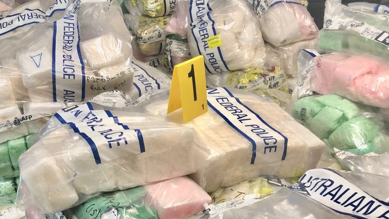 Police have seized 1.6 tonnes of crystal meth in Australia worth £622m. Pic: Australian Federal Police