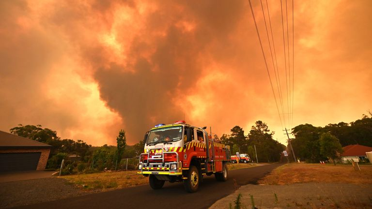 A bushfire burns in Bargo, southwest of Sydney