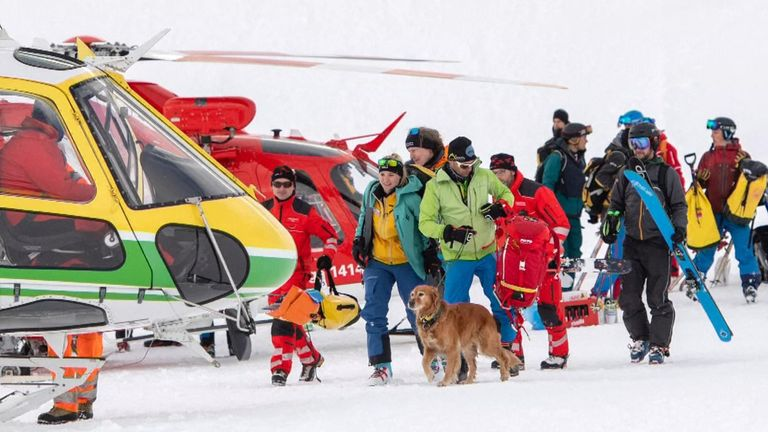 Rescue dogs were brought in to help find those buried beneath the snow