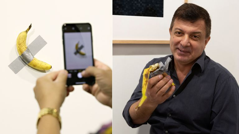 Maurizio Cattelan's Comedian banana art has been eaten by performance artist David Datuna