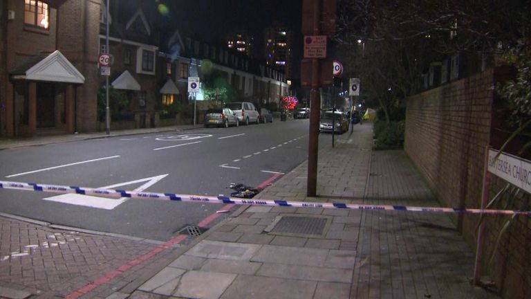 The scene of a shooting in Battersea