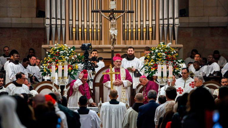 Pierbattista Pizzaballa leads Christmas Eve mass at the Church of the Nativity in Bethlehem