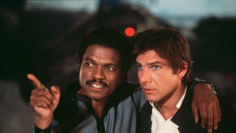 Billy Dee Williams and Harrison Ford in The Empire Strikes Back