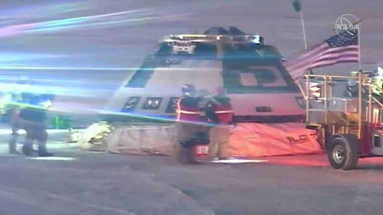 The Starliner is checked over after landing. Pic: NASA TV