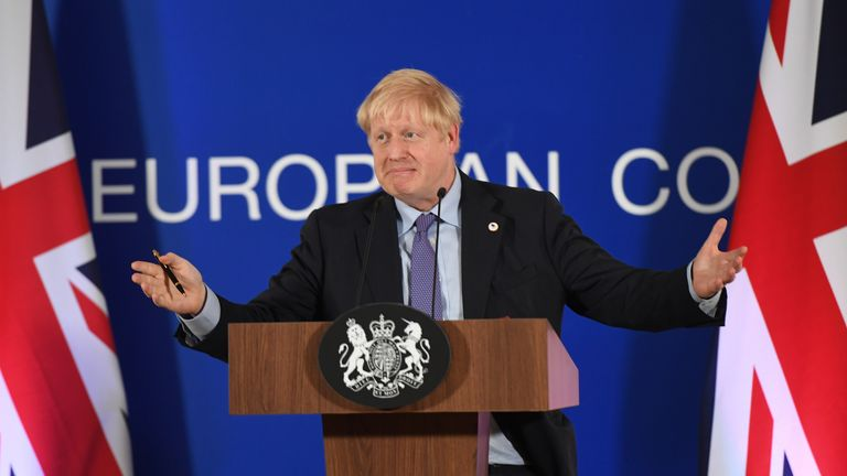 UK Prime Minister Boris Johnson speaking at the European Council summit at EU headquarters in Brussels.