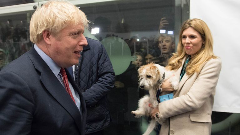 Boris Johnson, Carrie Symonds and dog Dilyn