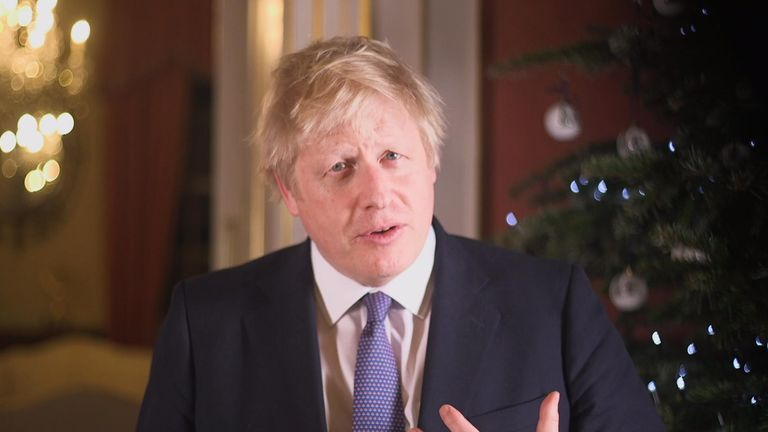 Boris Johnson delivering 2019 Christmas message