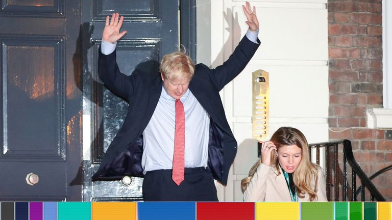 Boris Johnson and Carrie Symonds leave the Conservative Party's headquarters with their dog Dilyn