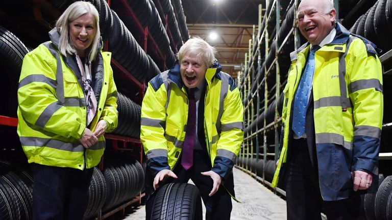 Boris Johnson visited Fergusons Transport tyre warehouse in Washington, near Sunderland
