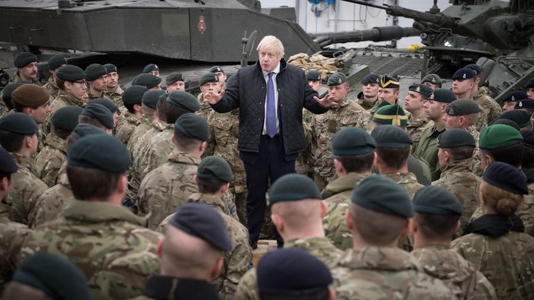 Boris Johnson told the troops the importance of their job