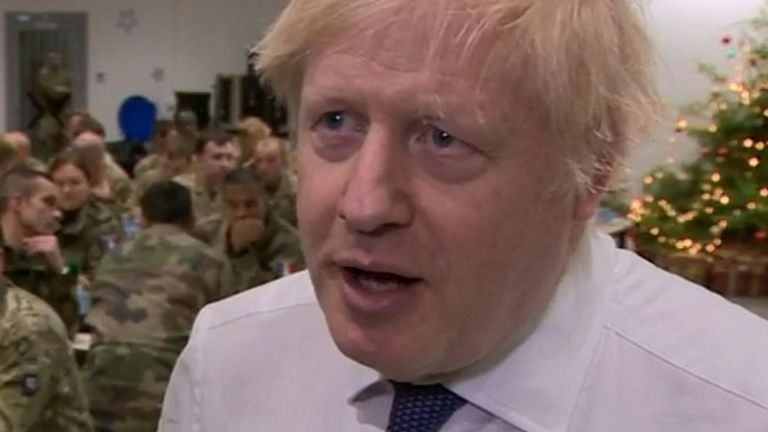 Boris Johnson is asked about the Harry Dunn case while visiting troops in Estonia