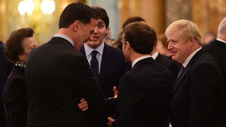 Boris Johnson, Justin Trudeau and Emmanuel Macron at Buckingham Palace