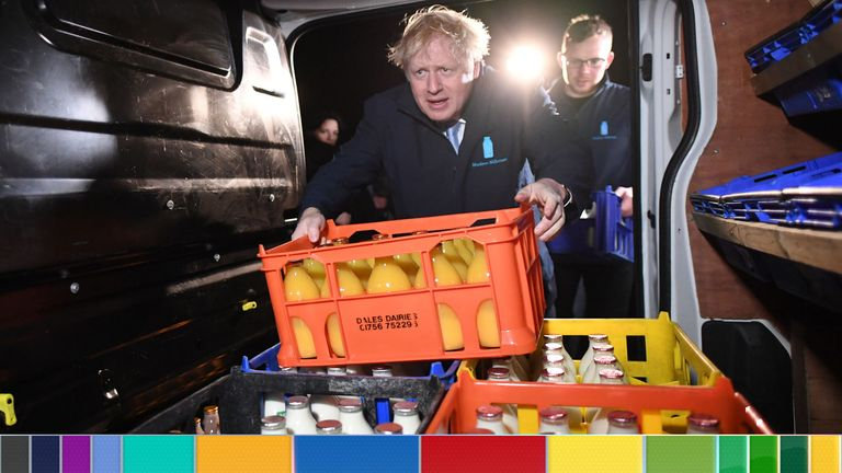 Prime Minister Boris Johnson loads a crate into a delivery van during a visit to Greenside Farm Business Park in Leeds, ahead of Thursday's General Election.