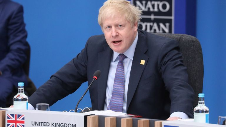Boris Johnson speaks during the plenary session of the NATO summit in Watford