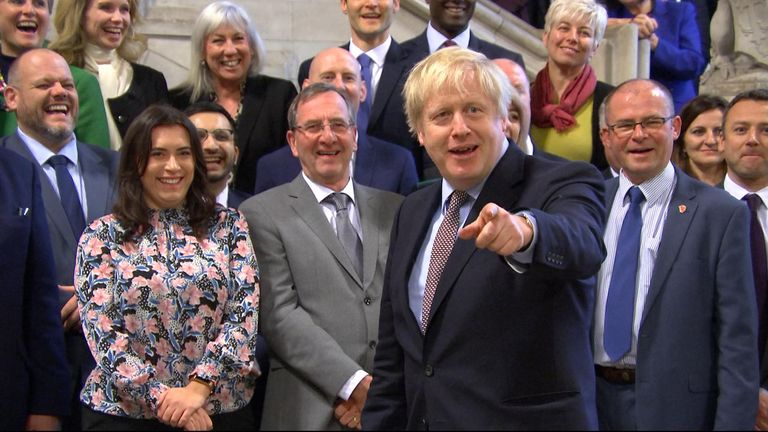 "Boris Johnson has briefly addressed the new Conservative MPs at Westminster, telling them they were ""here to get things done"""