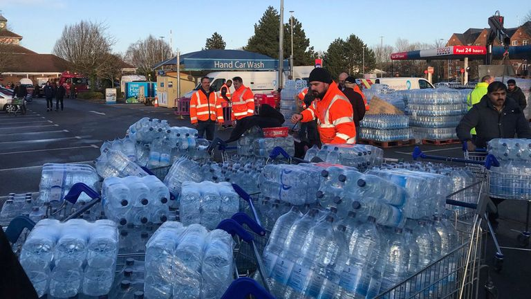 Bottled water for Anglian Water customers at the Tesco on Vimy Road in Leighton Buzzard