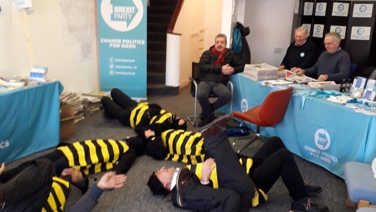 The XR activists in Grimsby at the Brexit Party office