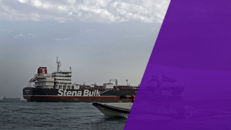 Iranian Revolutionary Guards patrolling around the British-flagged tanker Stena Impero in July