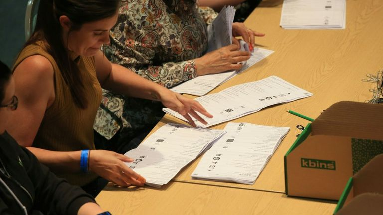 Votes are counted at the Kingsgate Conference Centre in Peterborough, England on June 6, 2019. - A local by-election was triggered when Peterborough's former MP Fiona Onasanya was sacked by her constituents in the first successful re-call petition prompting a by-election. (Photo by Lindsey Parnaby / AFP) (Photo credit should read LINDSEY PARNABY/AFP via Getty Images)