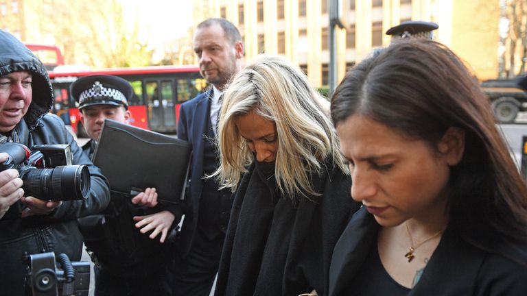 Caroline Flack was mobbed by photographers as she arrived at court