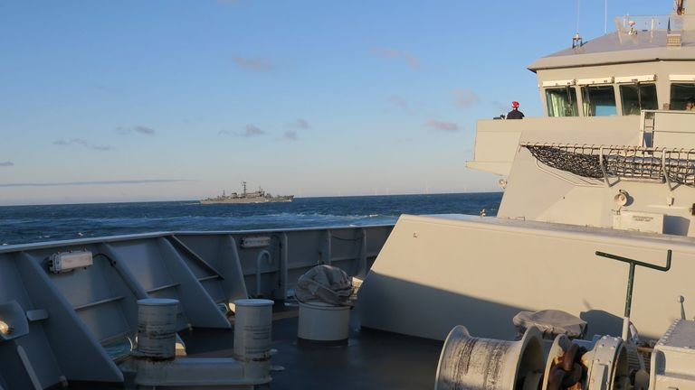 HMS Tyne as it shadows the Smolnyy Perekov