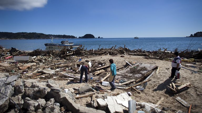 A number of towns and villages were completely destroyed by the earthquake and tsunami