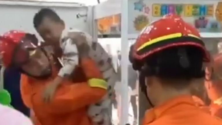 Child is rescued after climbing into a claw machine