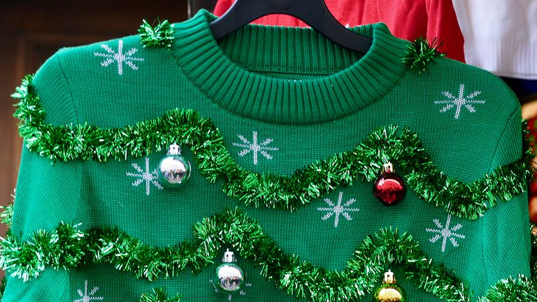 Festive jumpers can often contain plastic