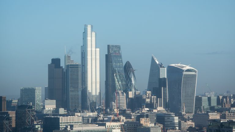 General view of the London skyline, as seen from Millbank Tower