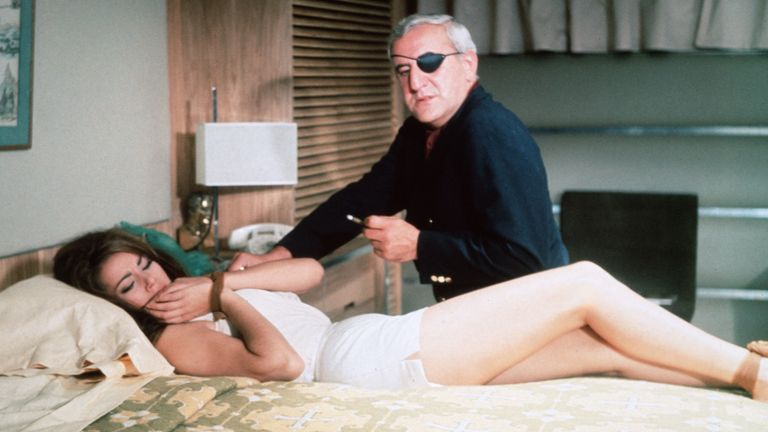 Claudine Auger and Adolfo Celi in Thunderball