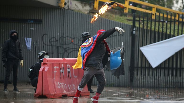 Colombian protests to mark Human Rights Day descend into violence
