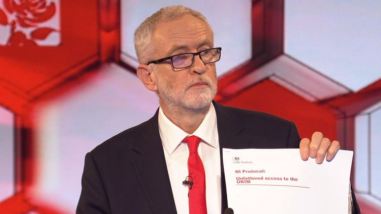Jeremy Corbyn holds up a supposedly leaked document about Northern Ireland. Pic: BBC