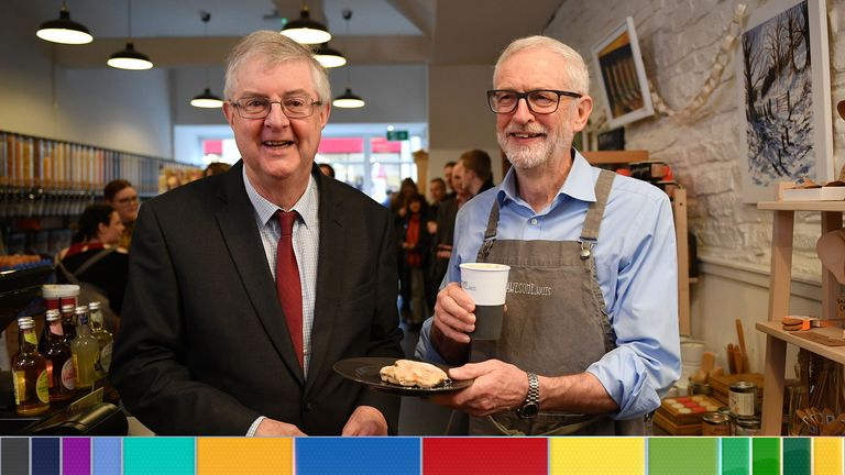 Jeremy Corbyn with Mark Drakeford in Barry