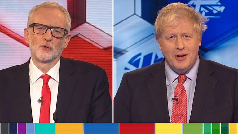 Mr Corbyn and Mr Johnson are debating each other in Maidstone. Pic: BBC