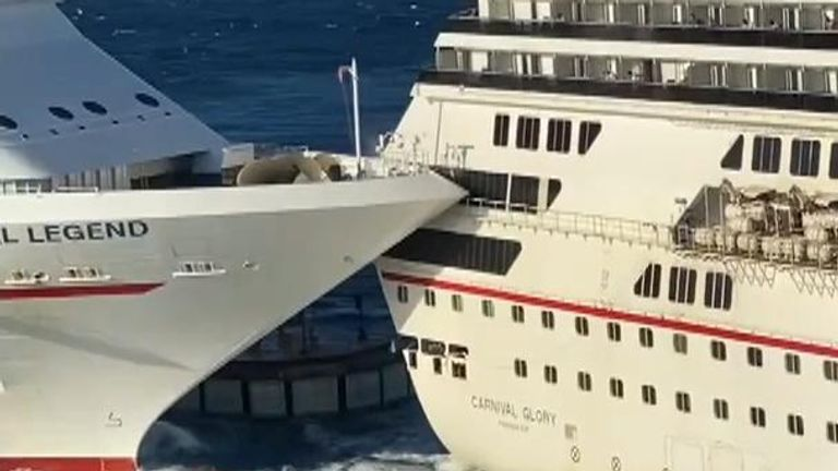 At least one person was injured after two Carnival Cruise Line ships crashed at a port in Cozumel, Mexico.