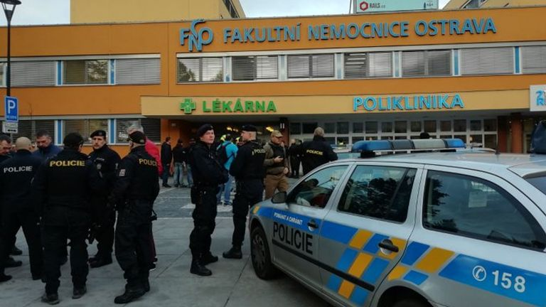 Police outside the hospital in Ostrava