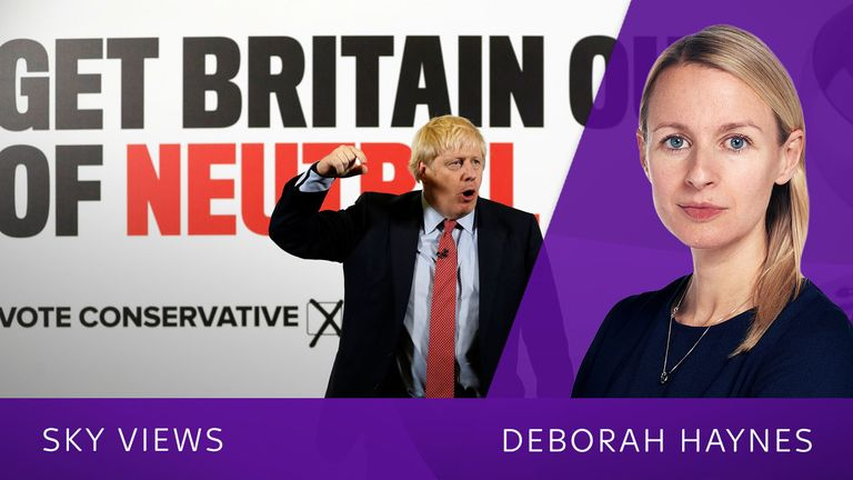 Britain's Prime Minister Boris Johnson reacts as he launches a Conservative Party general campaign poster