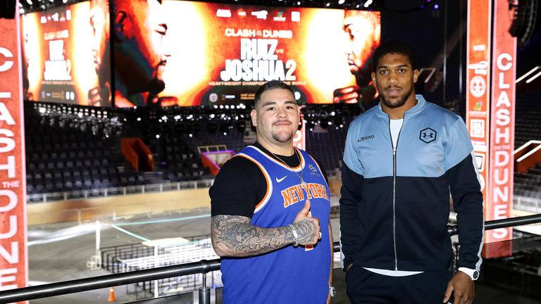 Anthony Joshua and Andy Ruiz Jr inside the Diriyah Arena