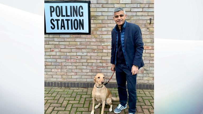 Sadiq Khan with dog Luna, aged 2