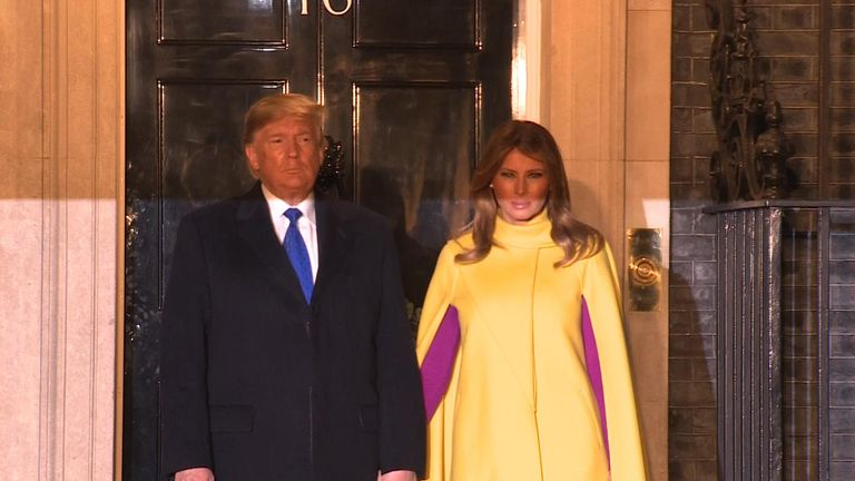 President Trump and the First Lady arrive at Downing Street.
