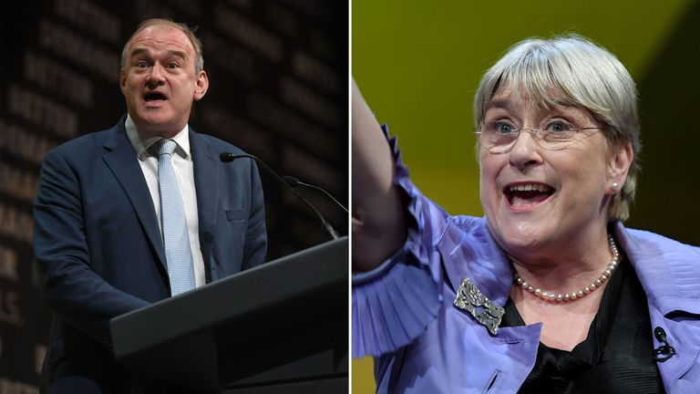 Sir Ed Davey and Baroness Sal Brinton will temporarily replace Ms Swinson as joint acting leaders