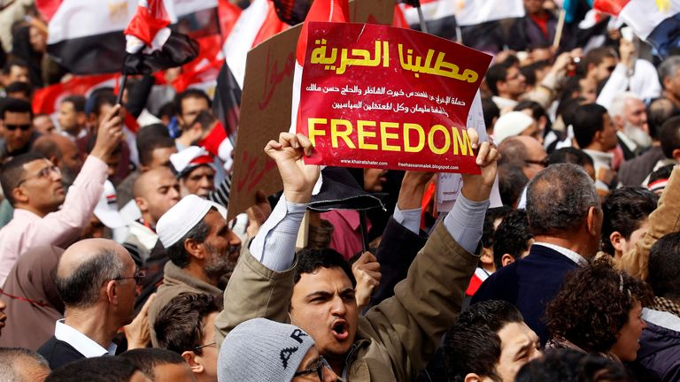 Protests called for the removal of President Hosni Mubarak