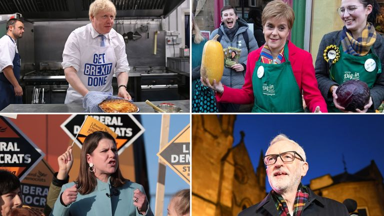 Leaders of the four biggest UK parties campaign on the last day of the election