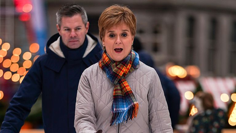 Nicola Sturgeon ice skates as she joins Kirsty Blackman, SNP election candidate for Aberdeen North