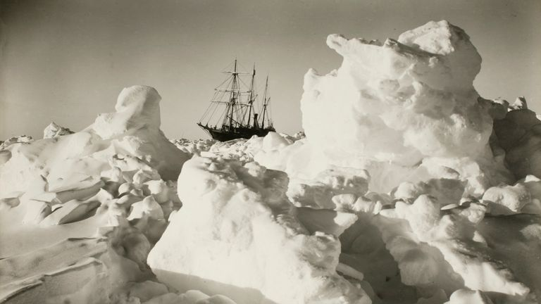 The Endurance among great blocks of ice during Shakleton's expedition from 1914-17