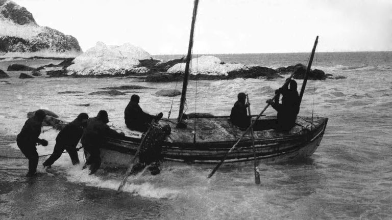 Shackleton and his crew launch the lifeboat on the voyage to South Georgia. Pic: Wikicommons/Frank Hurley